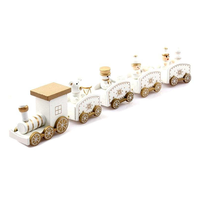 New Christmas Train Painted Wood Christmas Decoration For Home With Santa/Bear Xmas Kid Toys Gift Ornament Navidad New Year Gift Christmas D