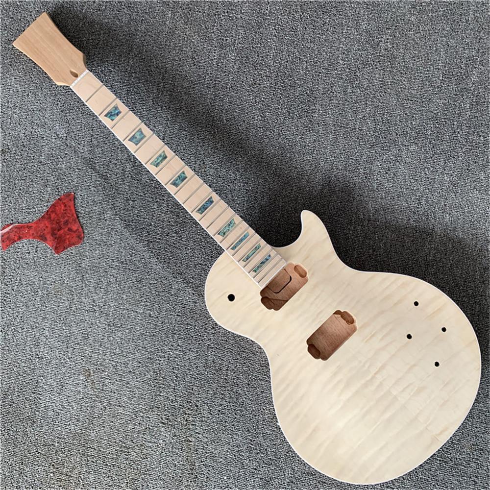 Bitmemiş Elektro Gitar Seti, Yerli Vücut Kapitone Akçaağaç Üstü, Uzun Tenon Ile Akçaağaç Boyun, DIY Gitar, Gitar Parçaları Gitarsız