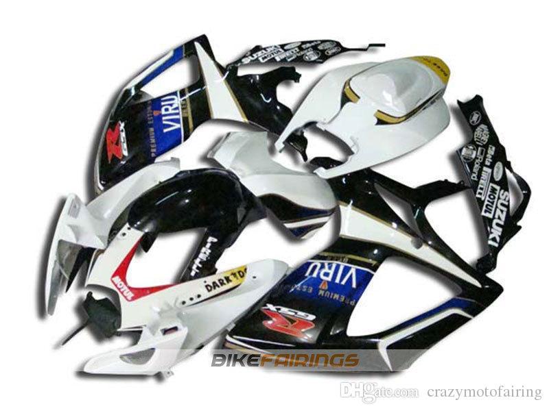 4 Cadeaux Nouveau style moto moto ABS Carénages Kits Fit Pour Suzuki K6 GSXR600-750 06 07 2006 2007 carrosserie Cool noir jeu blanc sur mesure