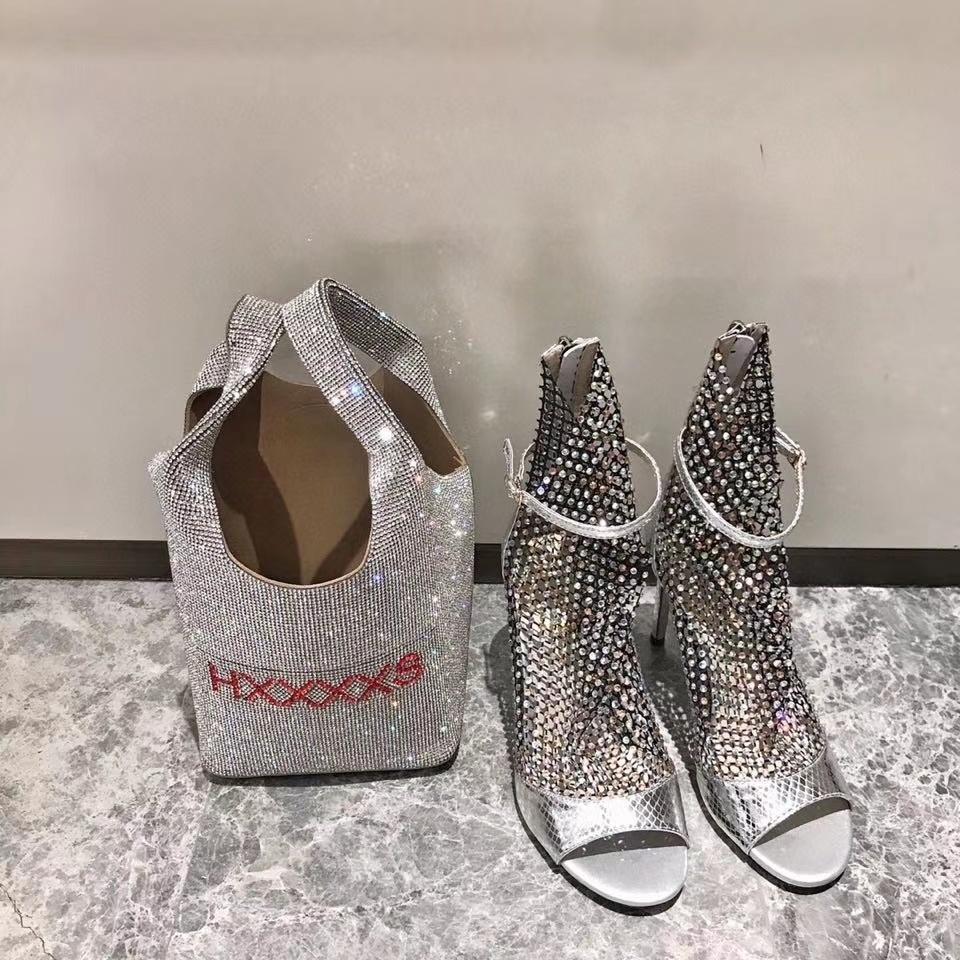 Frühjahr / Sommer 2020 High-End-Qualität Art und Weise Damen Einsatz Diamant-Mesh-Oberschafsleder hohe Absätze kühle Stiefel 35-40 Absatzhöhe 9cm wi