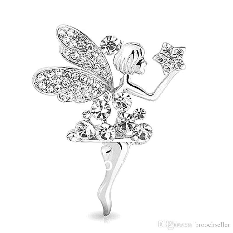 Beautiful Clear Rhinestone Crystal Fairy Gift Brooch