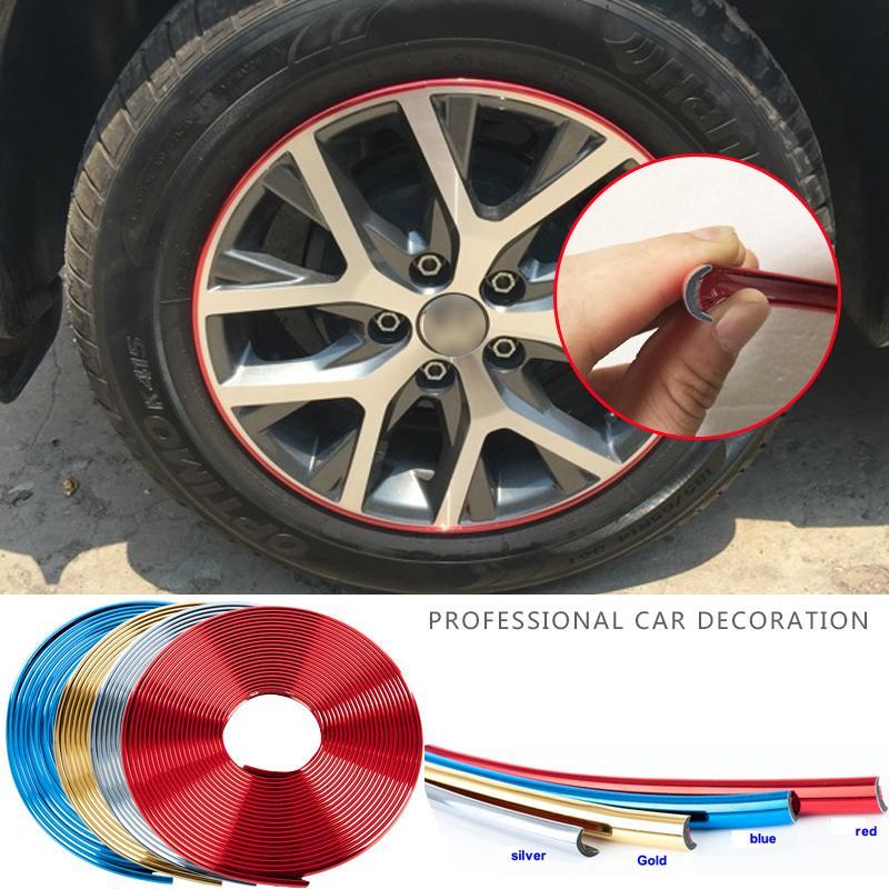 8M Autofelgen Aufkleber Chrom-Rad-Dekoration Auto-Reifen-Felgen plattierte Band Schutz Dekoration Auto-Styling Exterior Zubehör