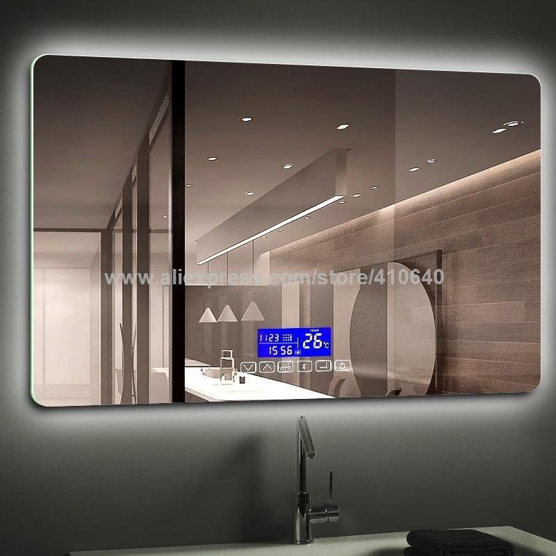 K3015 Serisi Işık Ayna Dokunmatik Bluetooth Ile Fm Radyo Sıcaklık Tarihi Takvim Banyo veya Kabine Ayna için Ekran
