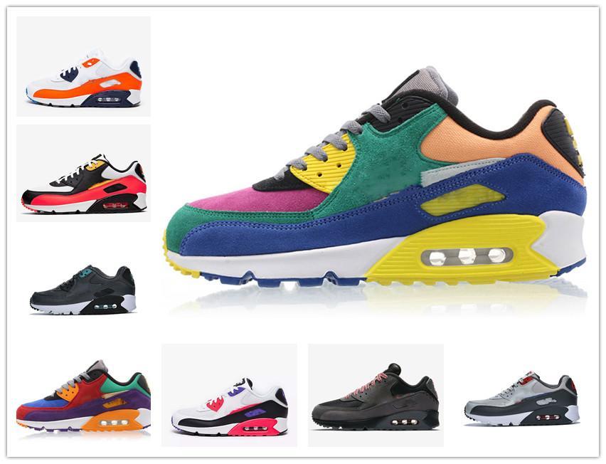 Moda hombre al por mayor zapatillas de deporte de los zapatos clásicos de los 90 hombres y las mujeres los zapatos corrientes de los deportes entrenador del amortiguador 90 de superficie transpirable zapatos deportivos