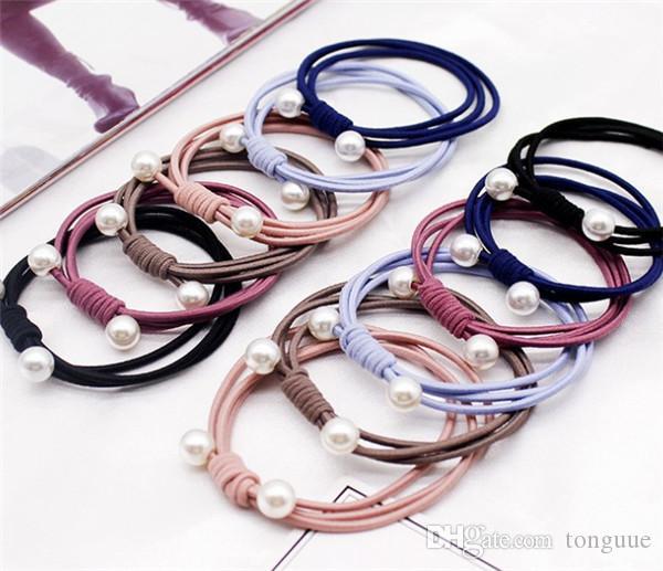Trois-en-un poil de boucle de cheveux bande haute extensible en caoutchouc fond perle corde main noeud tête de gros corde