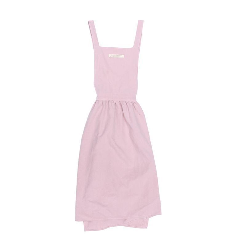 여성 한국 스타일면 앞치마 패션 주름 치마 서스펜더 스커트 앞치마 (핑크)