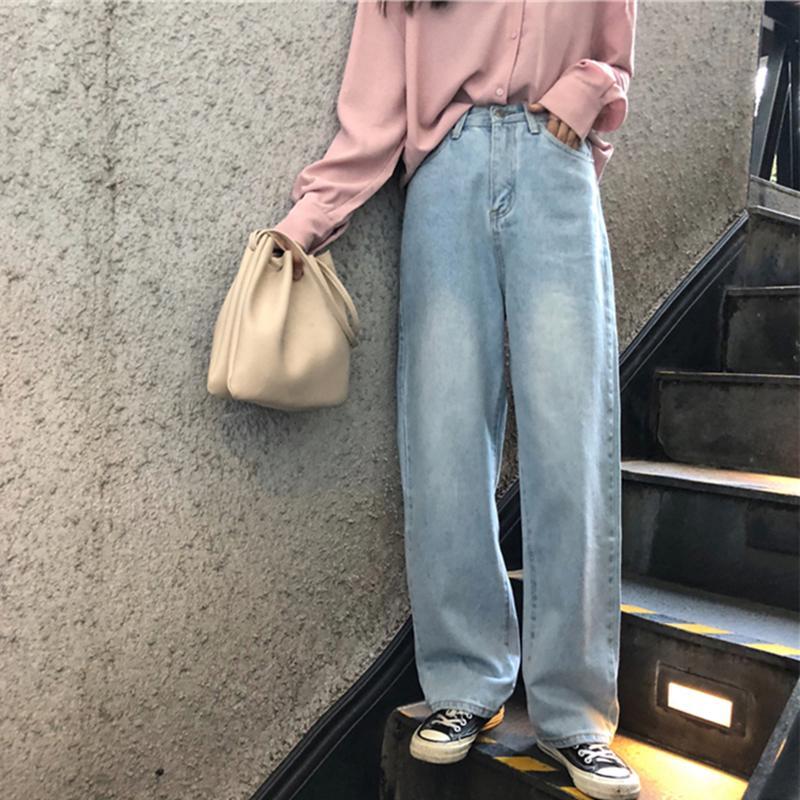 Kot Kadınlar Boş Kore Stil All-maç Basit Tam uzunlukta Trendy Chic Fermuar Gevşek Yüksek Bel Retro Geniş Bacak Bayan Jean