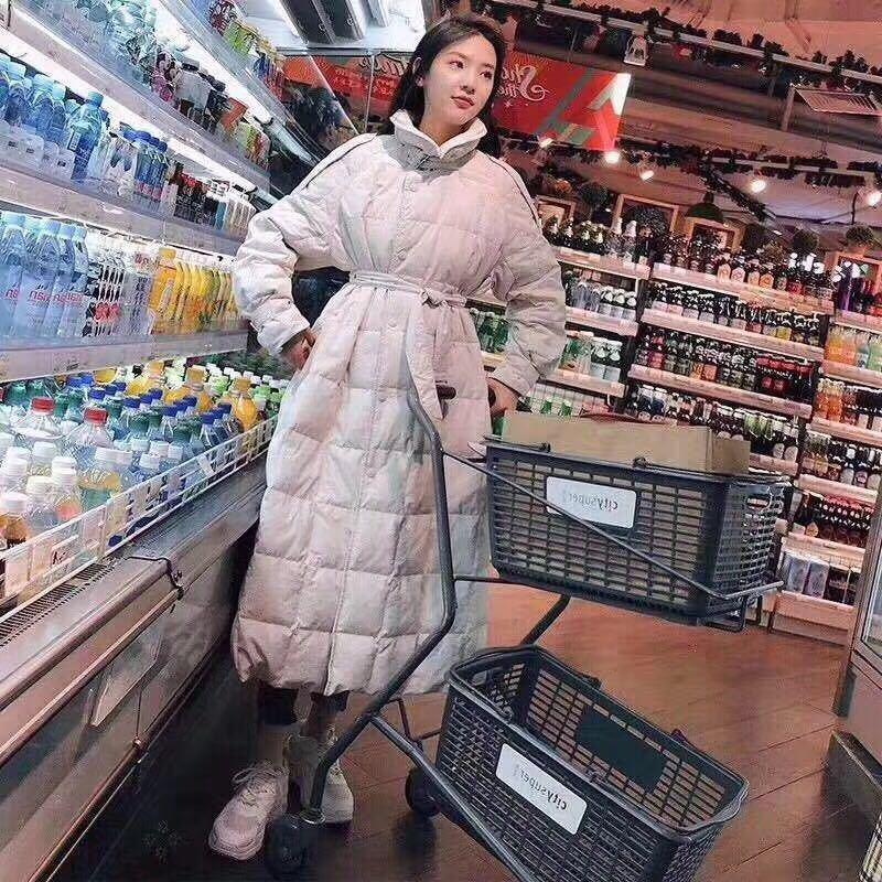 Red Coat netto TAY di Down Giacca donna Gambaletto piume d'anatra bianca giacca lunga femminile coreana il cinturino sottile ispessito