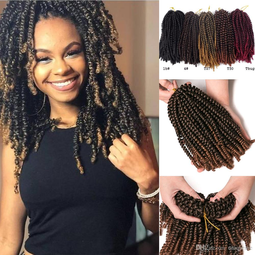 8 Inch Bob Ombre Spring Twist Hair Crochet Braids Passion Twist Synthetic Braiding Hair Extensions 30Strands Black Brown Red Gray Burgundy