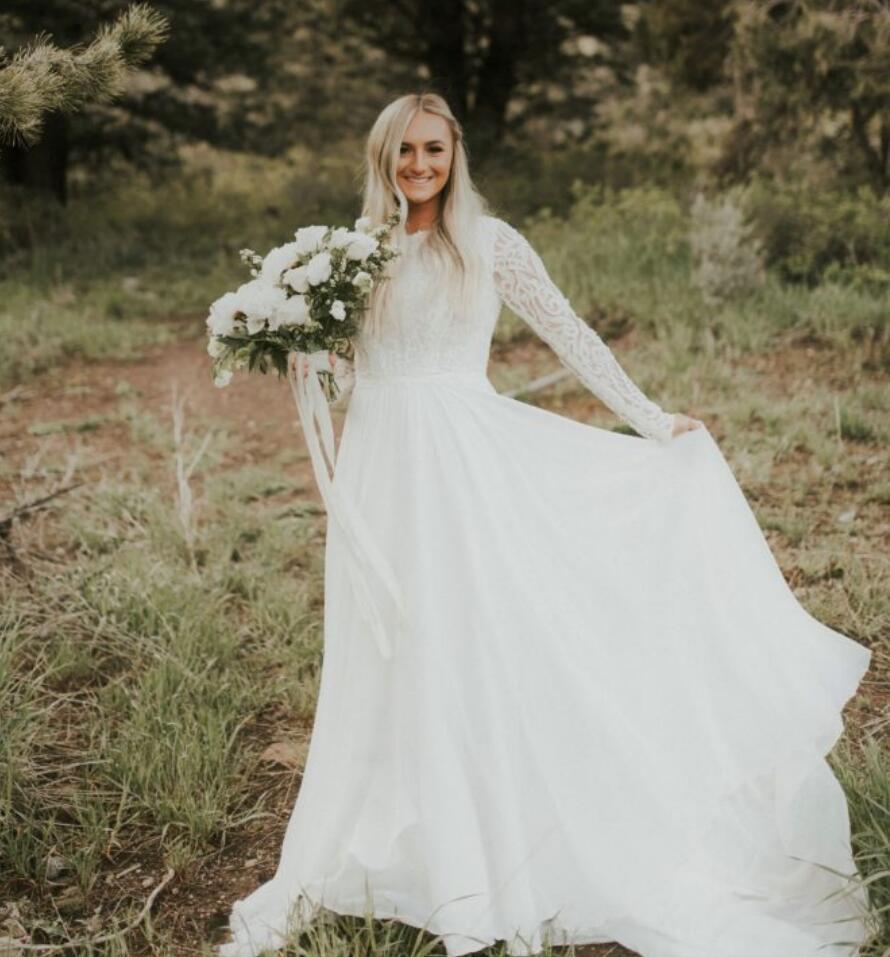 A-line Modest Brautkleider mit langen Ärmeln Juwel-Ansatz-Spitze Chiffon Außen Modest Brautkleider Boho Braut-Kleid nach Maß
