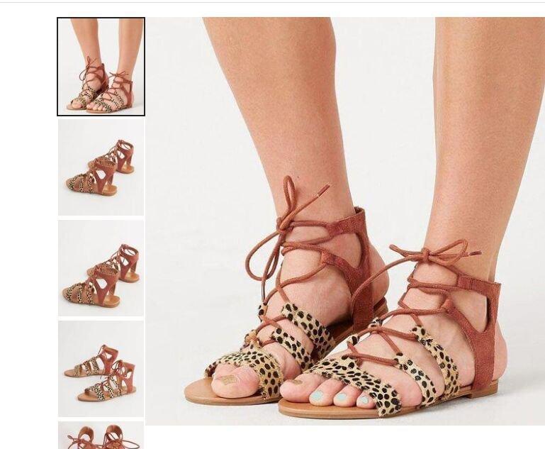 2019 Yaz Yeni Büyük Boy Sandalet Kadın Leopar Kama Topuk Düz