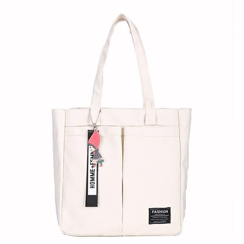 Canvas Eco Compras Tote Shoulder Book Bag