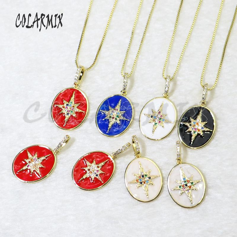 10 strands oval pendants with cross pendants necklace Enamel necklace mix colors charm beads accessories for women 5919