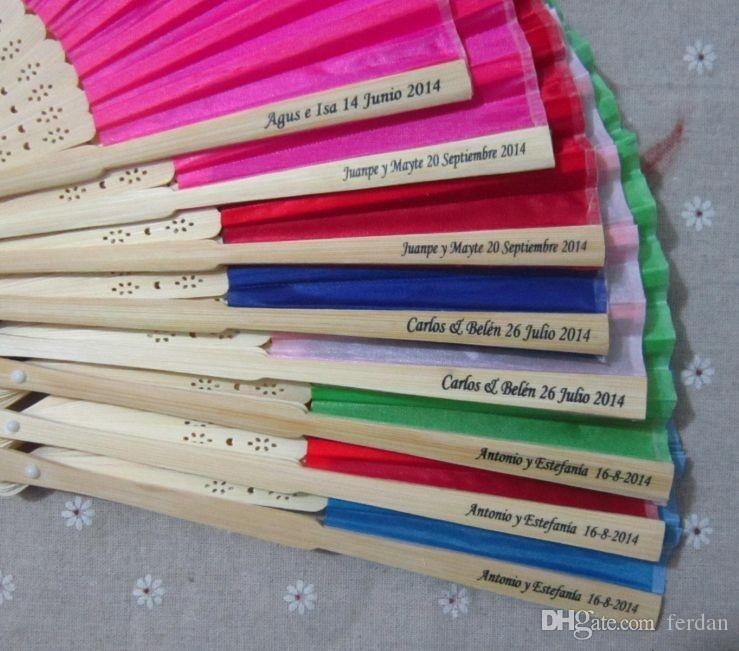 16 colors personalized wedding fans printing text on silk fold hand fans wedding favors and gifts zhao