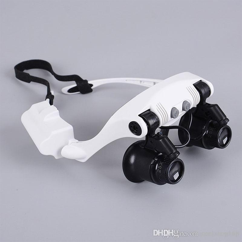 8 عدسة 10X 15X 20X 25X نظارات العين نظارات LED مصباح المكبر العدسة مجوهرات الحفاظ على أداة إصلاح ووتش