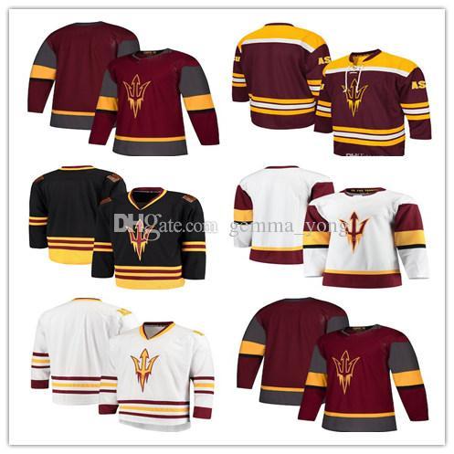 Personnaliser Hommes Arizona État Soleil Devils College 12 Dylan Hollman 35 Joey Daccord Bordeaux Rouge Tout Nom Nombre Chandails De Hockey Taille S-XXXL