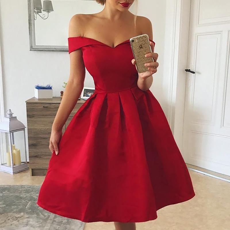 Платье без бретелек с плеча Женщины с короткими рукавами A-Line плиссированные платья Летние элегантные дамы вечернее платье сексуальные платья mujer