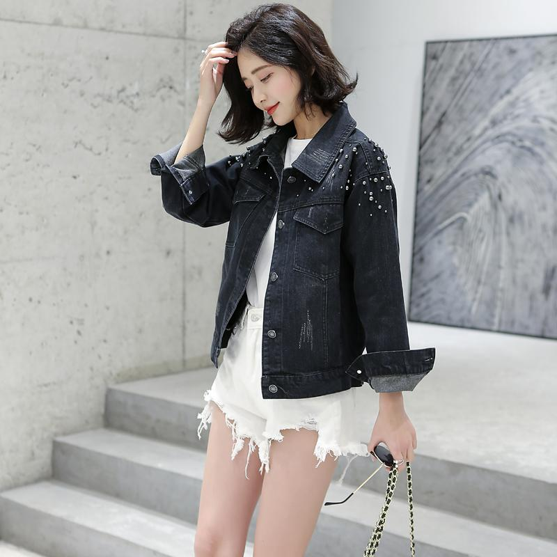 Korean Casual Beading Short Jeans Jacket Women Vintage Black Soft Fabric Turn Down Collar Long Sleeve Basic Outwear Denim Coats