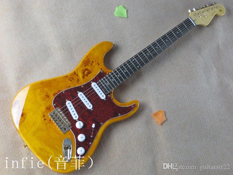 Free shipping 2020 new Rotten wood burl pattern ST electric guitar golden accessories guitar