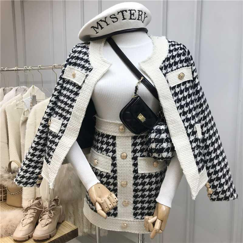 Neue Herbst- und Winter-Retro-Single-Breaked Plaid Tweed Mantel + High-Taille Kurzer Rock Zweiteilige Set Damen Woll-Rocksets