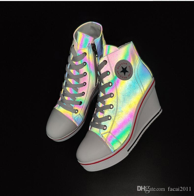 New Women/'s Platform Shoes Casual Zipper Shoes Sports Slope Increased Sneakers