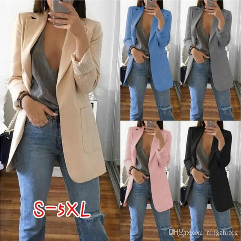 2020 2019 Autumn And Winter New Fashion Ladies Suit Lapels Slim Cardigan Temperament Fashion Suit Jacket Female From Ningzhiorg 17 7 Dhgate Com