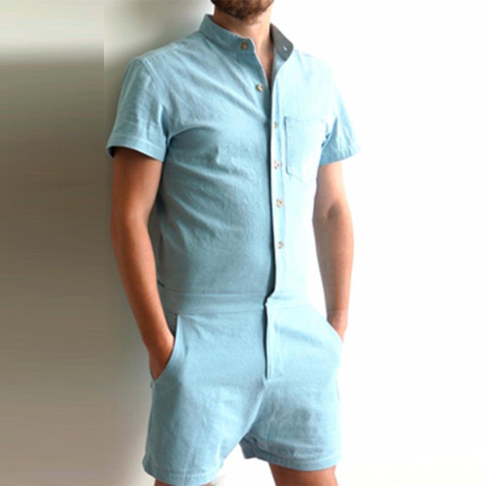 Mode d'été à manches courtes hommes barboteuses Homme seul boutonnage Jumpsuit Cargo Short Pantalon Boyfriend Zip Pantalon Party Salopette