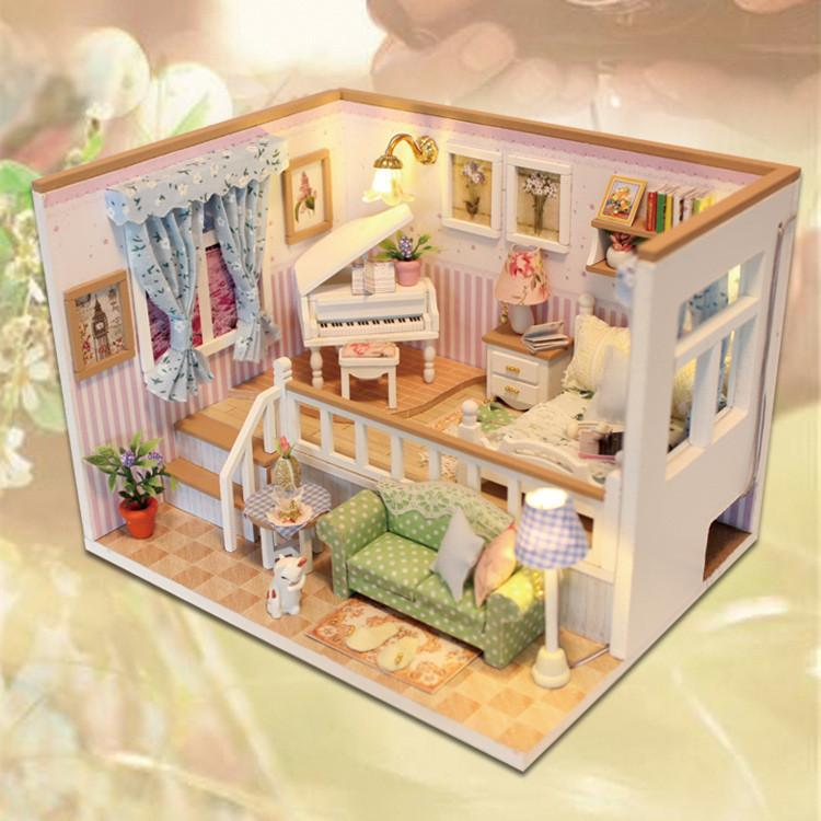 DIY Home Doll House Wooden Furniture Creative Building Blocks Toys Houses For LOL Dolls Toys Kids Birthday Gifts Y200413