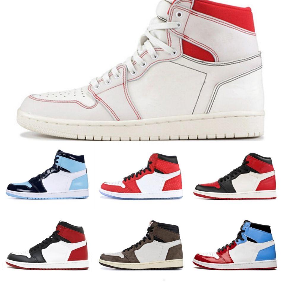 Off 1 Haute Og jaune canari Chaussures de basket-ball de Chicago Unc Poudre Bleu Blanc Jumpman 1S Hommes Femmes Sport Chaussures Designer Baskets Taille3 # 429