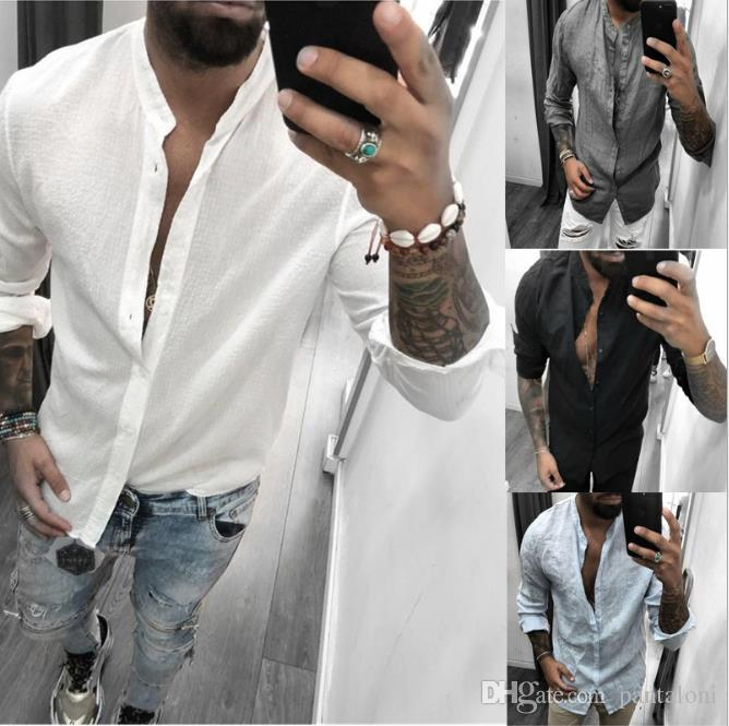 Breathable Casual Fashion Mens Shirt Long Sleeve Solid Color Tshirts Summer Loose Designer New Male Clothes