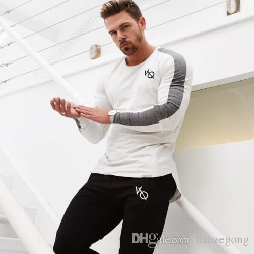 New manga comprida Camisa de esporte Homens Quick Dry Mens Correndo camisa T aptidão calças justas Gym treinamento camiseta de compressão Top Rashgard