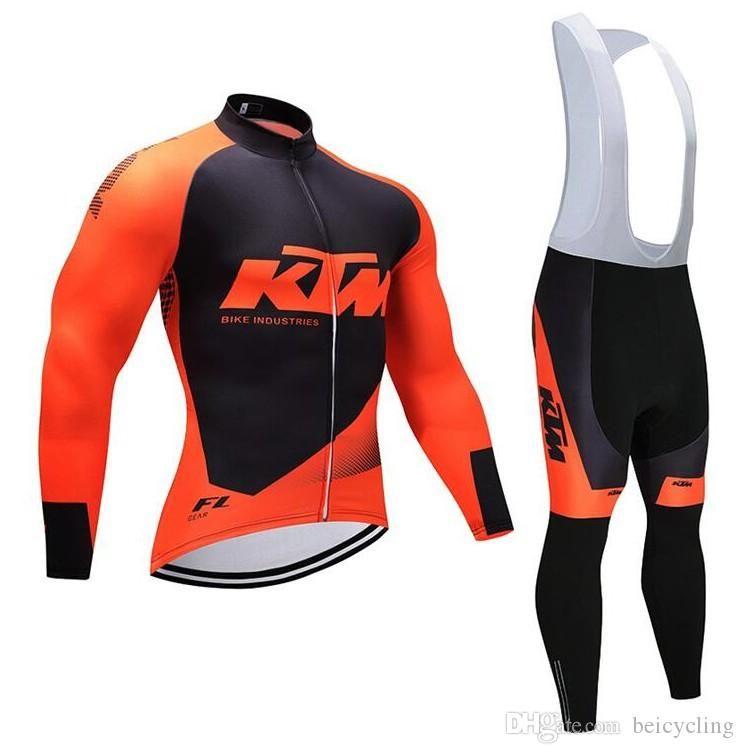2018 Hot Sell KTMCycling Jersey manches longues Pantalons Cyclisme Cyclisme Kits Dragonne Ciclismo bicicletas Sports VTT Wear B18092601