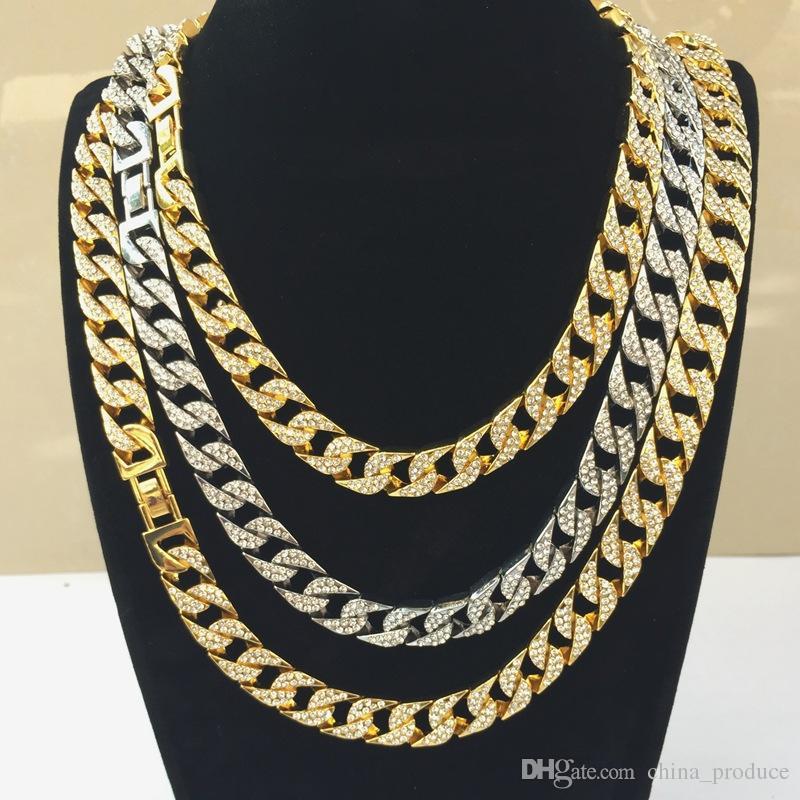 Uomini collana Hip hop completa Diamond grande catena d'oro