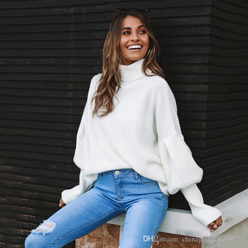 터틀넥 풀오버 스웨터 여성 겨울 의류 점퍼 swetry damskie 패션 캐주얼 느슨한 니트 스웨터 화이트 레드 탑