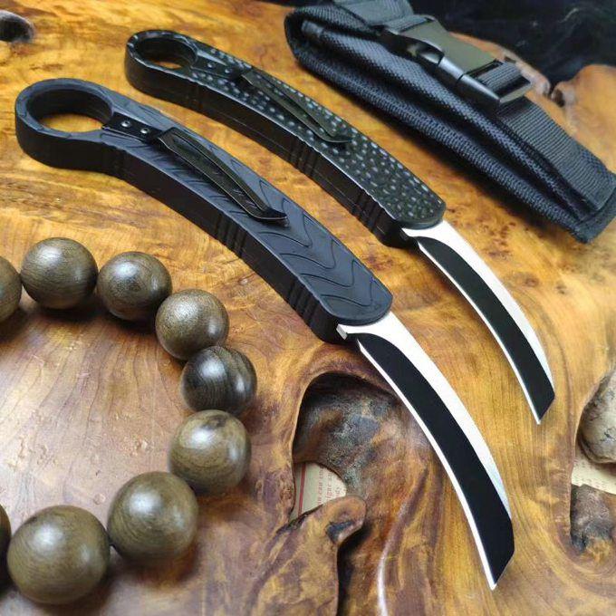 Naylon Kılıf İle Yeni Oto Taktik karambit Pençe Bıçak 440C Tel Çekme Blade Alüminyum Alaşım Kol