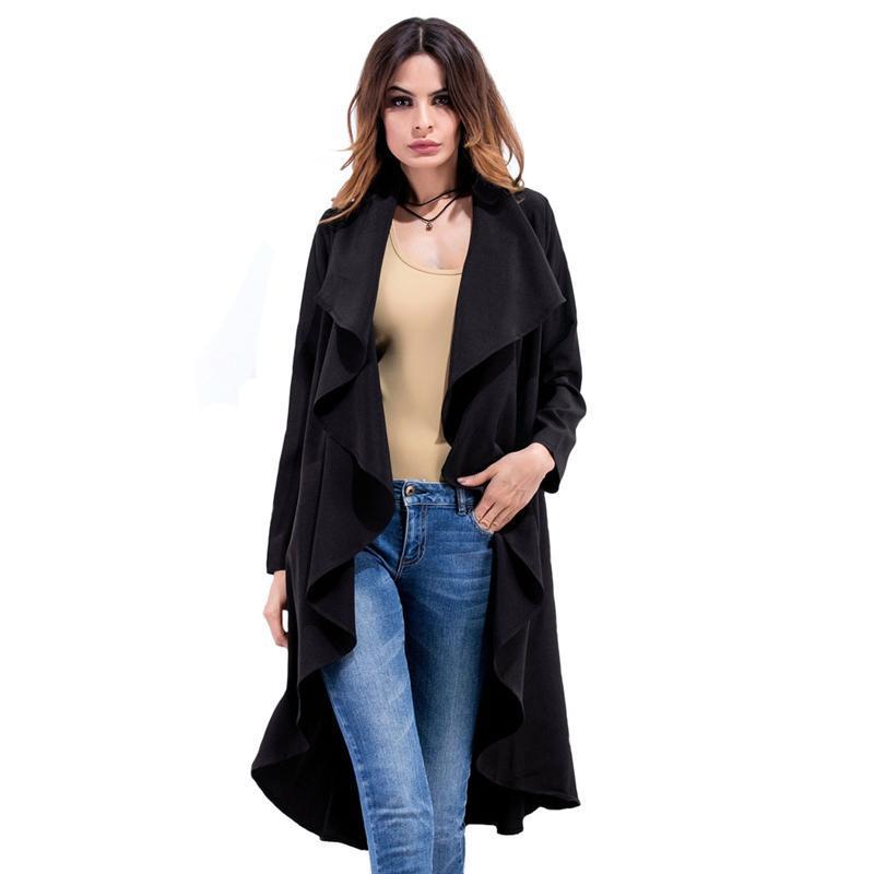 Nouveau Automne Hiver Mode Casual Femmes Trench-Coat Long Survêtement Vêtements Lâches Pour Dame De Bonne Qualité Solide Noir Beige Plus La Taille