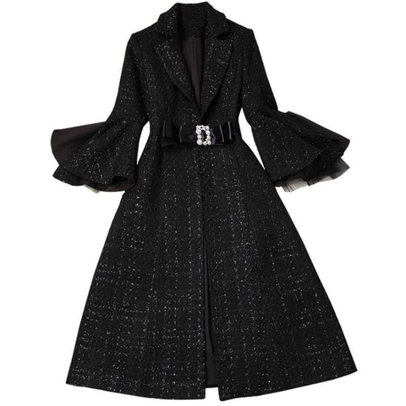 Mezcla de lana marca de moda de los diseñadores de Invierno Plaid Tweed de lana chaquetas y abrigos de señora de la llamarada de la vendimia de la manga Abrigo