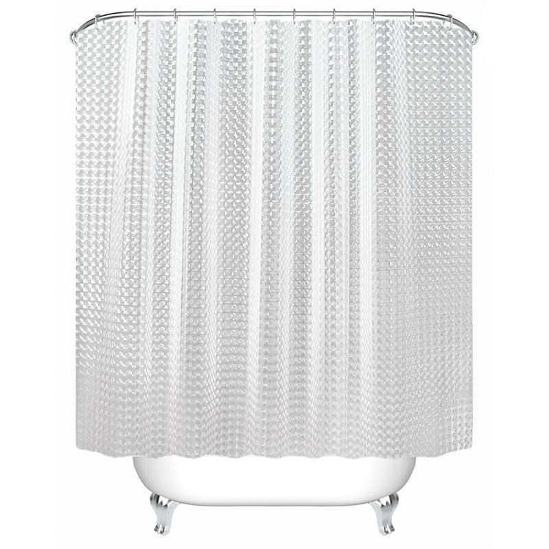 Plástico PEVA 3d chuveiro Waterproof cortina transparente White Clear Banho Cortina de luxo Bath Cortina com 12pcs Hooks