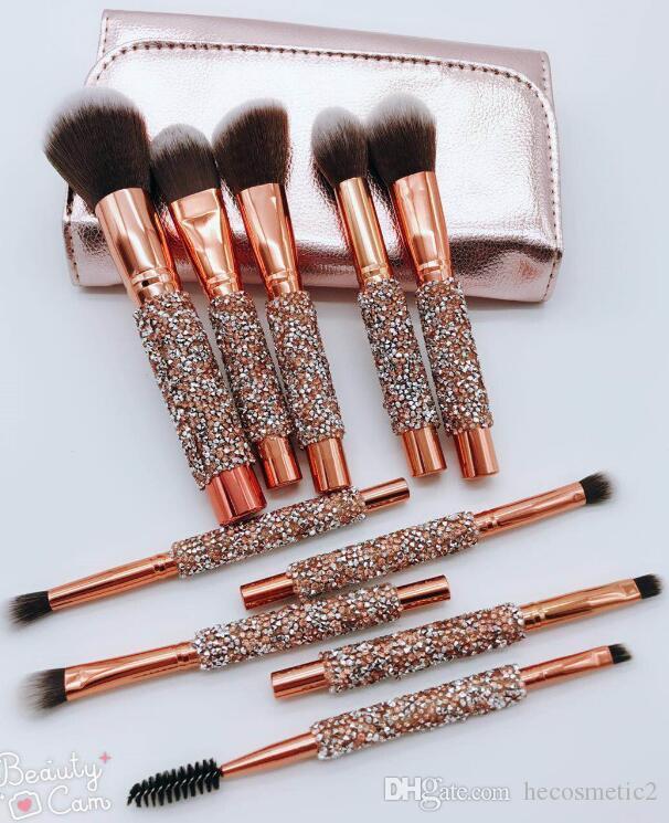 En stock! Professionnel 10PCS / set fard à paupières pinceaux à maquillage Set Fondation Mélanger Poudre Contour Concealer Blush Cosmetic Brush Livraison gratuite