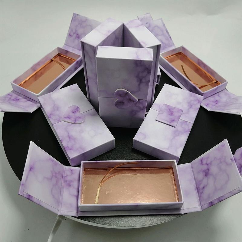 25 mm Faux Cils Emballage Boîte Lash Boîtes sur mesure Votre faux 3d Mink Lashes Marble Case Maquillage Vide Cils Stockage