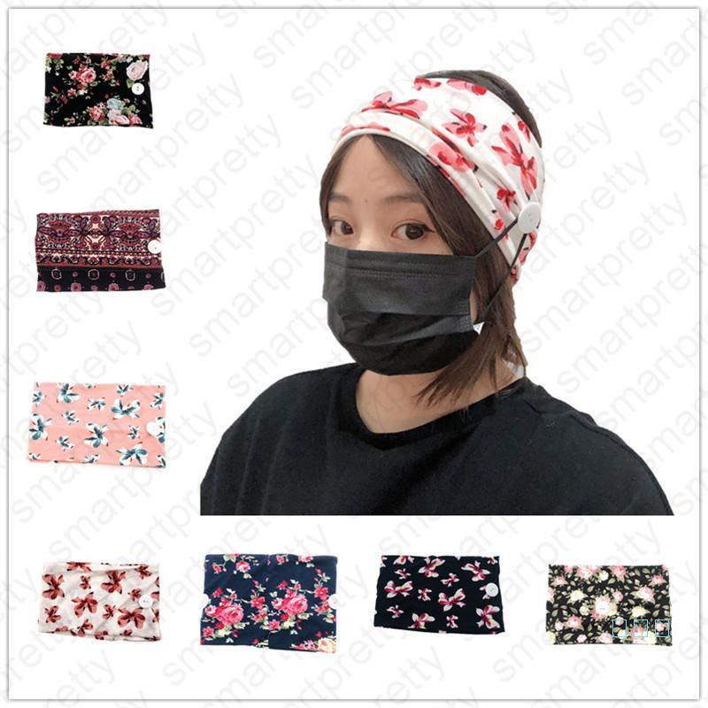 Frauen Elastische Gedruckt Anti Ohr Stirnbänder mit Maske Sport Yoga Übung Soft Button Haar Spitze Für Mädchen Geschenk Haar Zubehör 2020 D41601