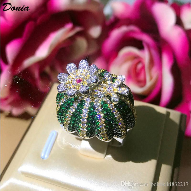 Dona Gioielli Hot Ring Cactus rotante pieno di anelli zirconi anelli creativi europei e americani uomini e donne regali a mano