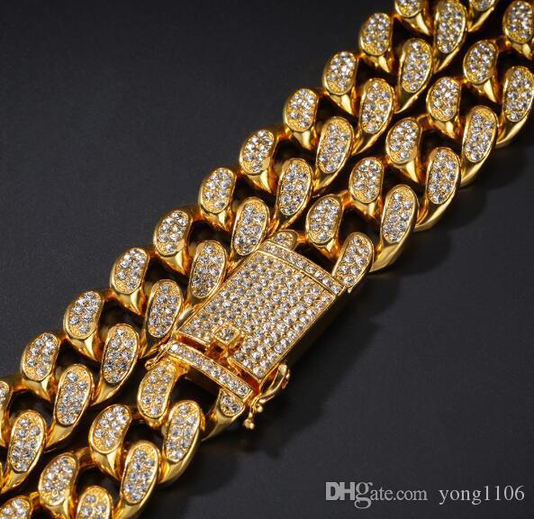 Dominante pulsera exageración personalidad de la manera joyería de Bling del diseñador de lujo de HIP HOP de 20 mm completa diamantes de los hombres de accesorios de la cadena cubana