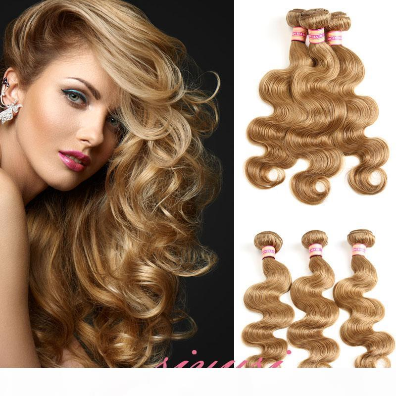 Body Pérou Vague Cheveux Tissages 3 ou 4 Bundles 27 # 30 # 99J # 4 # Extensions Cheveux blonds humaine Cheveux Weave