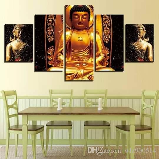 5 Piece Gold Buddha Paintings Wall Art Canvas Pictures Modular Kitchen Restaurant Decor Living Room HD Printed Poster No Frame