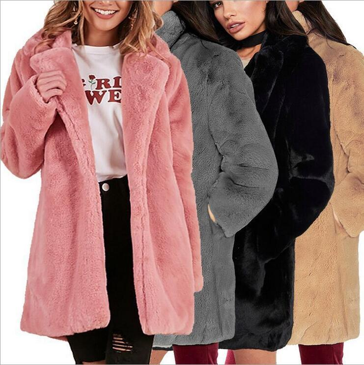 Autumn and winter new European and American suede plush imitation fur warm jacket in the long section long-sleeved fur coat female