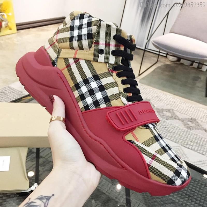 Manera de la vendimia revisar los zapatos de alta arriba zapatillas de deporte para hombre de a pie Scarpe da uomo di Lusso con cordones gruesos zapatillas de deporte al aire libre más el tamaño de los zapatos ocasionales