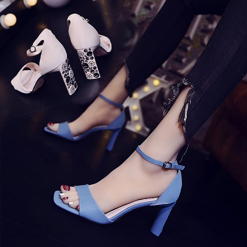Current2019 Fairy Woman Sandals Rough Wind Rhinestone One Word With High-heeled Square Cavity Women's Shoes