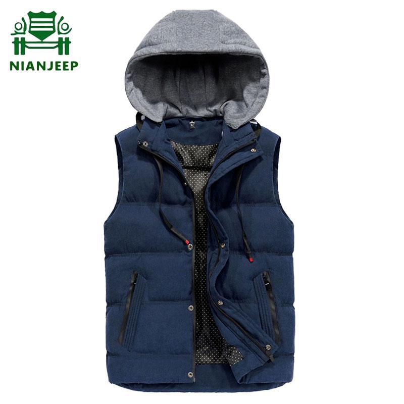 encapuçado dos homens Coletes Big Tamanho 4XL mangas outono inverno quente Vest Jackets Men Moda Windbreaker Outwear Masculino Vest Colete