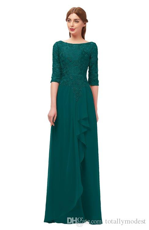 Dark Teal Lace Chiffon Modest Bridesmaid Dresses With 3 4 Sleeves A Line Floor Length Women Country Western Modest Mother S Dress Silver Grey